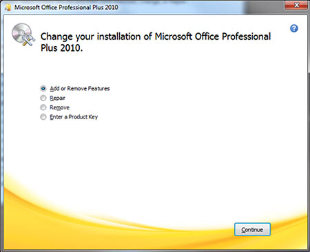 Microsoft Office Professional Plus 2010 dialog with Add or Remove Features selected
