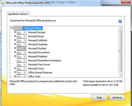 Installation Options screen shot with Microsoft Office tree open
